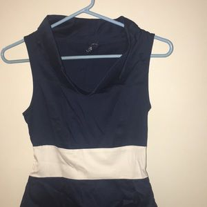 blue sand Dresses - Women's navy and white cowl neck  dress